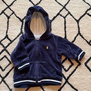 Ralph Lauren Logo Velour Zip Up Hoodie Navy Blue